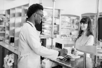 woman and a pharmacist